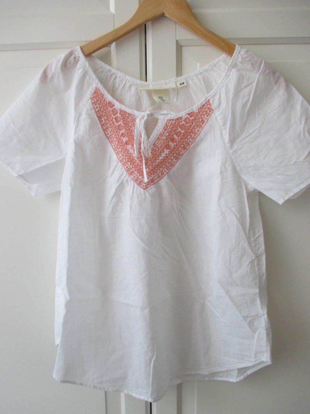 offizieller Preis Vielzahl von Designs und Farben tolle Auswahl H & M ; luftige weiße Tunika mit apricotfarbiger Stickerei, Kurzarm, Gr. 38