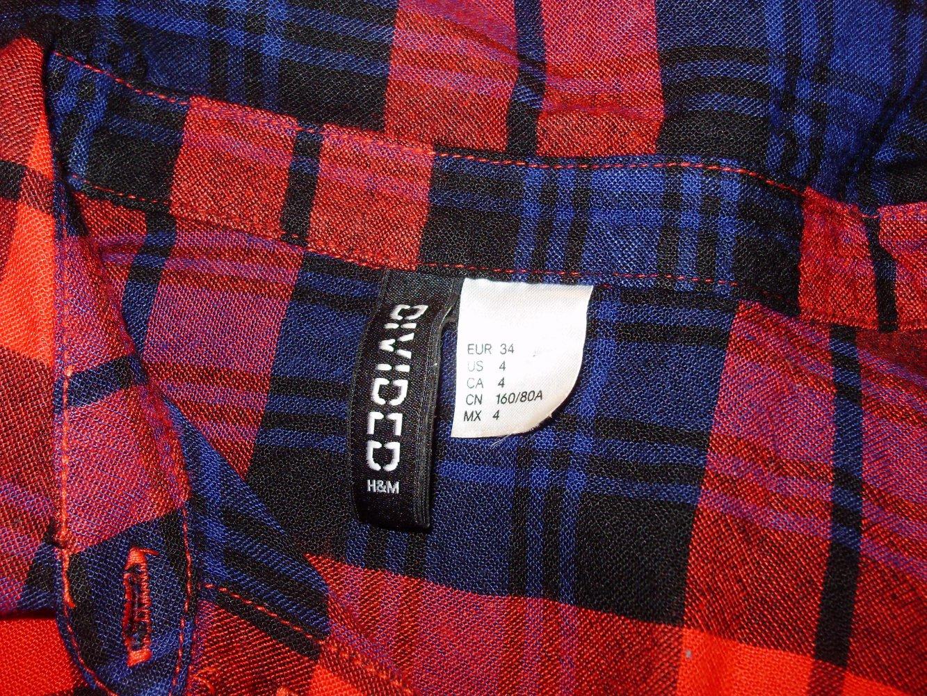 h&m kleid schwarz rot blau karo hemdblusenkleid gr 34 s