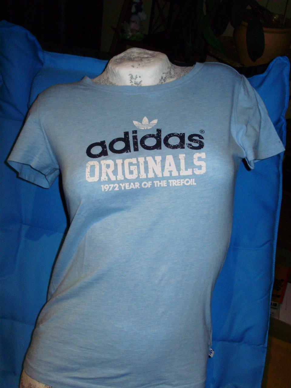 adidas Shirt hellblau Print Label Gr 34 S wie neu    Kleiderkorb.de cdb55d9a1e