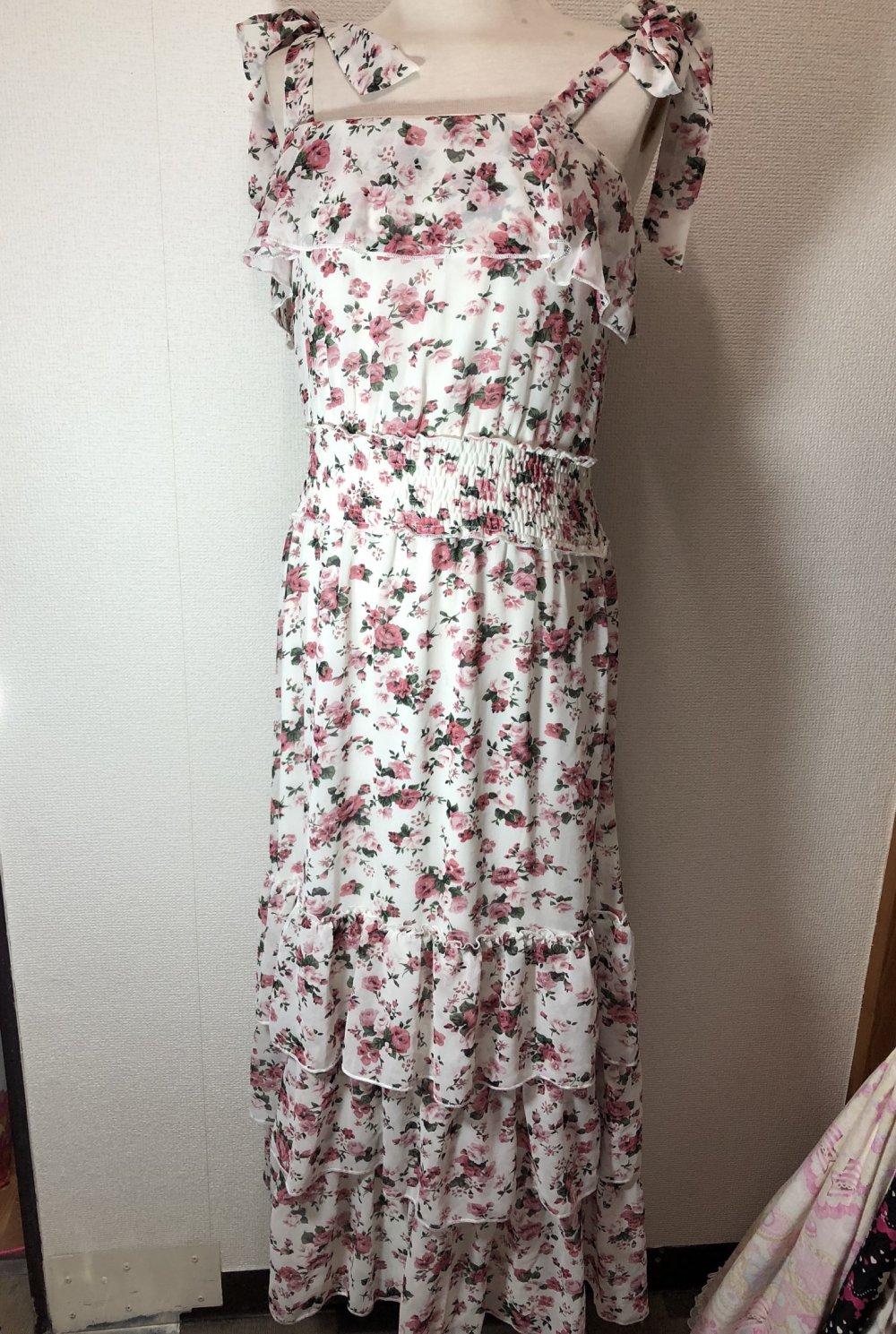 rosen chiffon rüschen maxi kleid in weiß x rot, schleifen, japan, gyaru,  sommer, blumen, lang