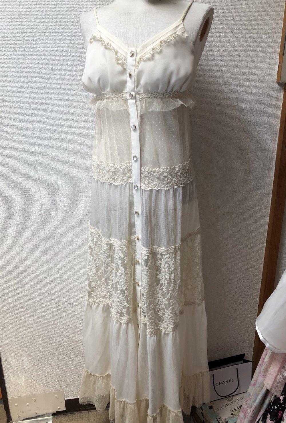 Dazzlin durchsichtiges maxi Kleid aus Spitze & Chiffon, boho, creme, Japan,  gyaru, lagenlook