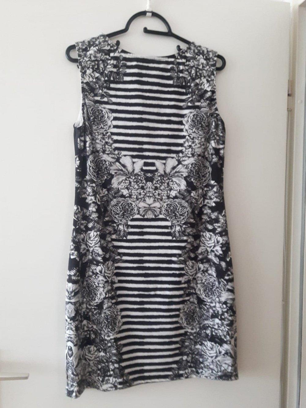schwarz-weißes kleid von h&m