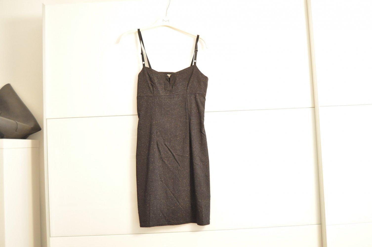 das kleine schwarze - abendkleid schwarz/glitzer - figurbetont - 34-36