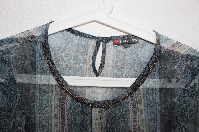 Street One Tunika Bluse Transparent Muster Blau Perlen 34 XS ... 6d3ca62566