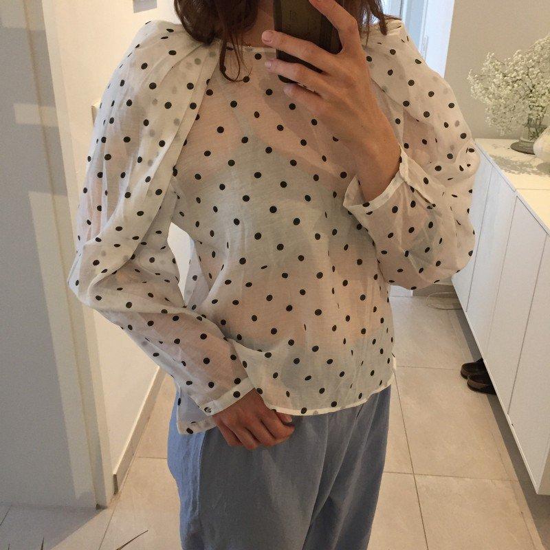 5cb0ca1f7b2aee Mango gepunktete transparente Bluse mit Puffärmel Gr.L/40 ...