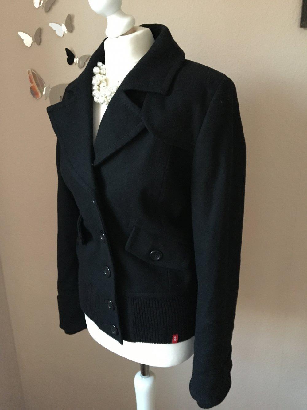 NEU Wolljacke von EDC Esprit 75% Wolle schwarz M