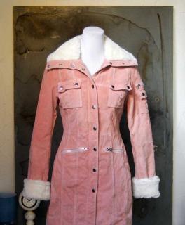 ... Taillierter Ledermantel Fell Mantel im Parker Look in rosa weiß Gr. S  36  T 9700b07b33