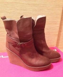 Wedges Ankle Boots Stiefeletten aus braunem Glattleder mit warmem  Innenfutter Gr. 40 3e7b3d3d60