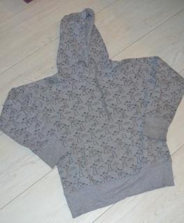 947b1f2c6aac43 Hoodie Pullover Kapuze schwarz grau Vögel ...