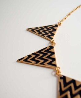 Statement-Kette Dreiecke gold schwarz ... c1c9683684