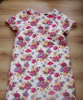 76c104b6b67d0c Neu Primark Kleid Beige Blumen Karo Edel Gr. 8 XS 34 Blogger Victoria  Beckham