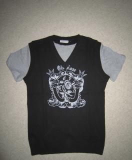 c2292115db4b1 (College)jacke schwarzer Pullunder mit Vintage-Aufdruck