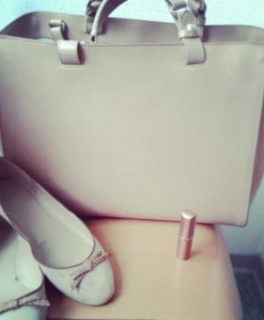 76fc381bb6f62 Zara Tasche Trapez rosa nude shopper ...