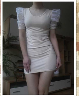 3ce5ea8fabeced Mesh Sleeve Kleid Minikleid Puff Ärmel beige Kpop YesStyle kawaii ulzzang  lolita ...