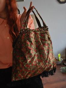 e846bbaba220d ... True Vintage Tasche Beutel Handtasche Antik Seide Silk Fransen Blogger  Trend