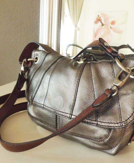 d4f1c6e10039b Fossil Tasche   braun silber   Handtasche Echtleder   mittelgroß    Umhängetasche