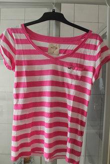 701ce3b42a258d ... Pink/weiß gestreiftes T-Shirt Hollister