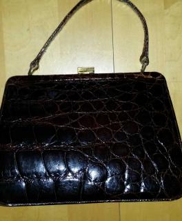 d1b3c22f76002 ... echt Krokodilleder Handtasche rotbraun aus Omas Nachlass Vintage