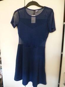 fb08b6d20cf7b2 Tolles Partykleid Blau Cut Out Mesh Transparent S